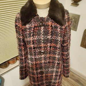 INC tweedy, wool plaid coat